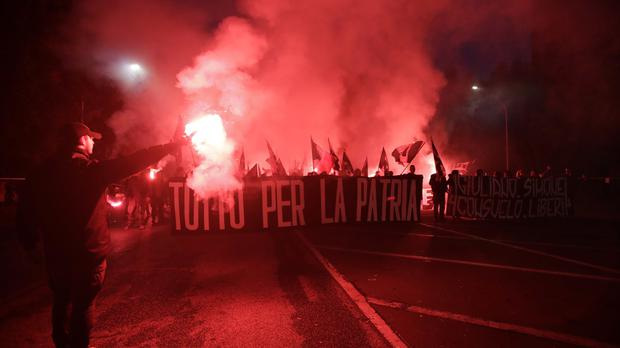 Italian far-right marchers