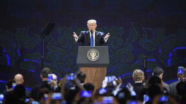 Donald Trump speaks on the final day of the APEC CEO Summit (AP)