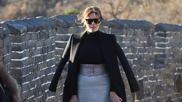 Melania Trump walks along the Mutianyu Great Wall section in Beijing (AP)