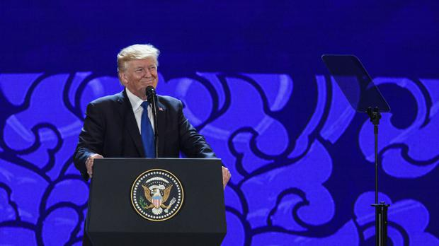 US President Donald Trump speaks on the final day of the summit (AP)