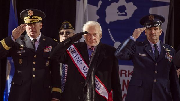 Buzz Aldrin salutes during the annual Veterans Day parade in New York (AP)