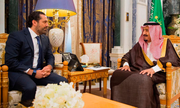 Controversy: In this photo provided by the Saudi Press Agency, Saudi King Salman, right, meets with the recently resigned Lebanese prime minister Saad Hariri in Saudi Arabia last Monday. Photo: AP