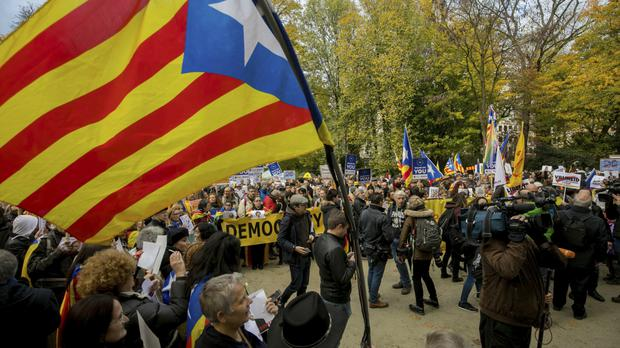 Supporters of independence for Catalonia demonstrate near the EU quarter in Brussels (AP Photo/Olivier Matthys)