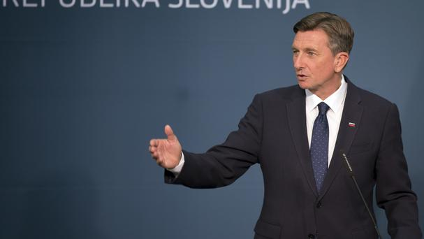 Borut Pahor addresses supporters after his election success (AP Photo/Darko Bandic)