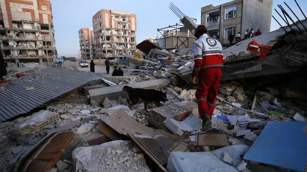A rescue worker and a sniffer dog search debris for survivors after an earthquake inithe city of Sarpol-e-Zahab in western Iran (Pouria Pakizeh/ISNA via AP)