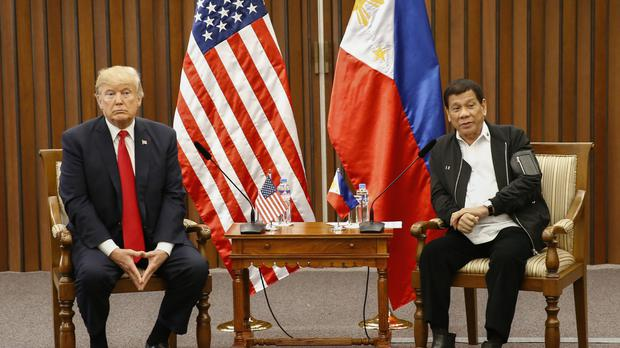 Donald Trump and Rodrigo Duterte hold a bilateral meeting on the sidelines of the ASEAN Summit in Manila (Rolex dela Pena/Pool Photo via AP)