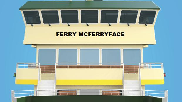 An artist's drawing shows the design of the last ferry in a new Sydney Harbour fleet which will be christened Ferry McFerryface (Transport for NSW/AP/PA)
