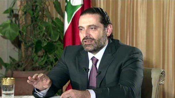 Lebanon's Prime Minister Saad Hariri gives a live TV interview in Riyadh on Sunday (Future TV/AP/PA)
