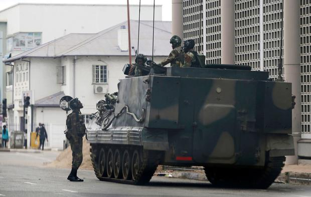 A military vehicle is seen on a street in Harare, yesterday. Photo: AP