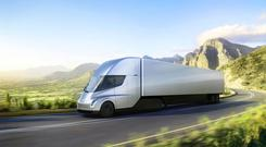 Tesla's new electric lorry, part of the company's goal of moving to sustainable transport (Tesla via AP)