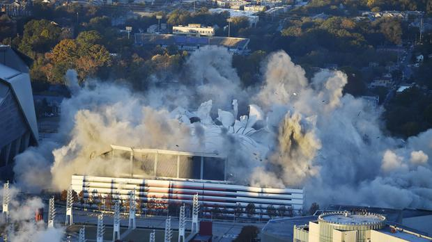 The Georgia Dome is destroyed in a scheduled implosion (AP)