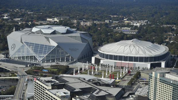 Watch moment us stadium destroyed in spectacular for Hotel near mercedes benz stadium atlanta