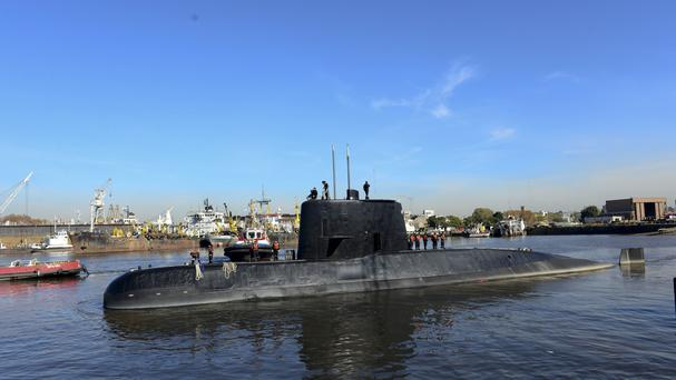 Photo supplied by Argentina's navy of the ARA San Juan docked in Buenos Aires (AP)