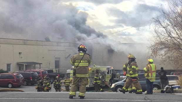 Firefighters at the scene in New Windsor, New York (Allyse Pulliam/Times Herald-Record via AP)
