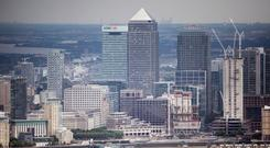 General view of Canary Wharf from the Shard