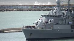 A ship leaves a naval base to join the search for missing submarine ARA San Juan, in Mar del Plata, Argentina (AP)