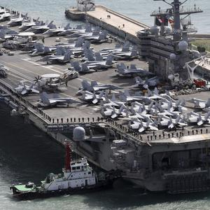 The aircraft was heading to US Navy carrier the USS Ronald Reagan (Yonhap/AP)