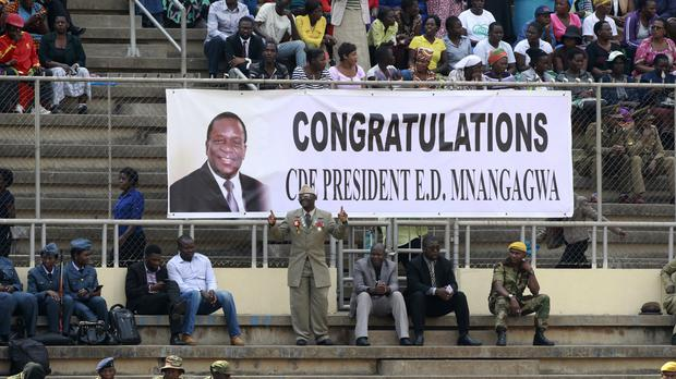 Crowds gathering for the inauguration of Emmerson Mnangagwa