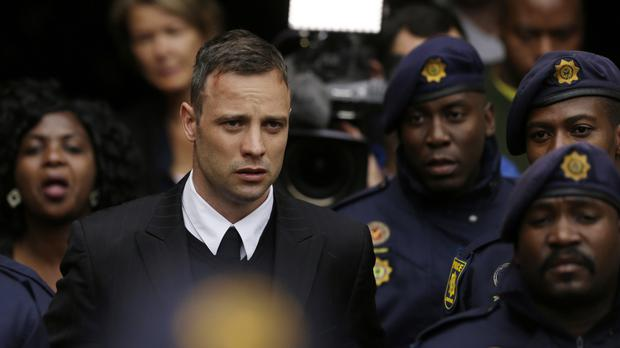 Oscar Pistorius was originally jailed for six years after he was found guilty of murder for shooting his girlfriend, Reeva Steenkamp (AP Photo/Themba Hadebe, File)
