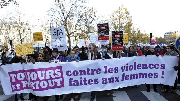 Protesters during a demonstration for the International Day for the Elimination of Violence against Women, in Paris (AP/Thibault Camus)