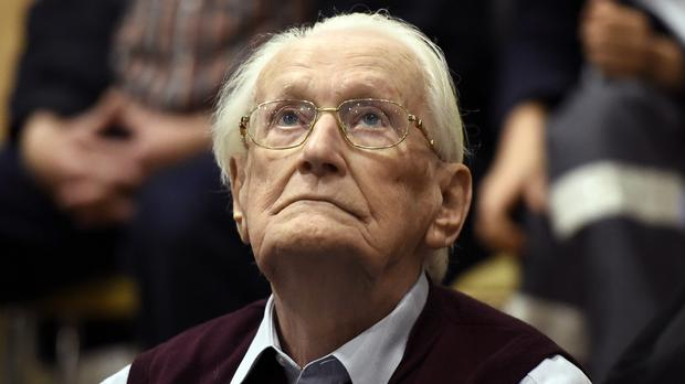 The Celle state court ruled on Wednesday that Oskar Groening was in good enough health to serve his four years in prison (Tobias Schwarz/pool photo via AP/PA)
