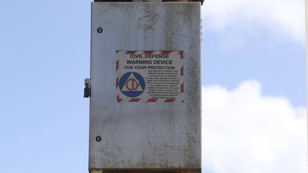 A Hawaii Civil Defence Warning Device will sound on Friday as part of a test. (AP Photo/Caleb Jones)