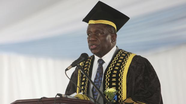 Emmerson Mnangagwa delivers a speech at a graduation ceremony in Chinhoyi (AP)