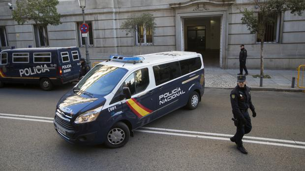 A police van arrives at the Supreme Court in Madrid (AP)