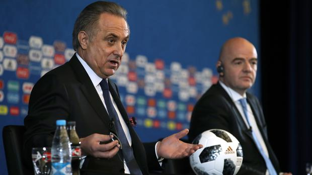 Vitaly Mutko, left, at the World Cup draw with Fifa president Gianni Infantino
