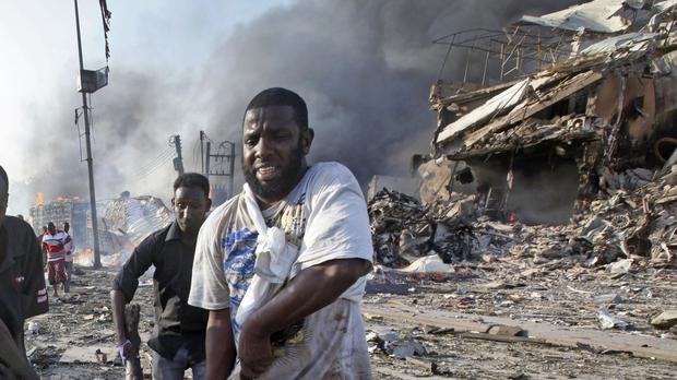 The blast hit Somalia's capital Mogadishu on October 14 (Farah Abdi Warsameh/AP)