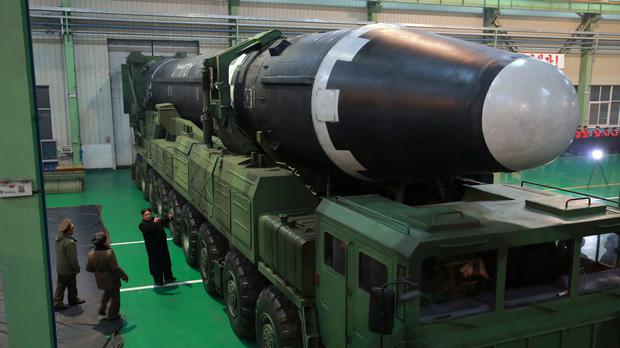 North Korean leader Kim Jong Un inspects the Hwasong-15 intercontinental ballistic missile (Korean Central News Agency/Korea News Service via AP)