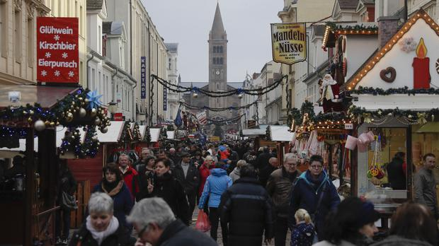 The Christmas market was crowded a day after the package was found in Potsdam (AP)