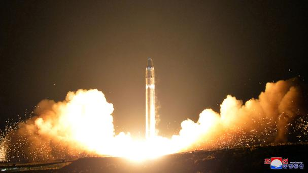 File image provided by the North Korean government of the Hwasong-15 intercontinental ballistic missile (AP)