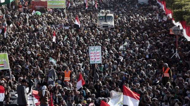Supporters of Shiite Houthi rebels attend a rally in Sanaa, Yemen, following the killing of ex-President Ali Abdullah Saleh (AP Photo/Hani Mohammed)