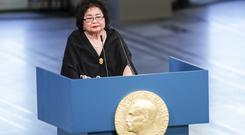 Hiroshima survivor Setsuko Thurlow speaks in Oslo City Hall in Oslo, Norway (Terje Bendiksby/ NTB scanpix via AP)