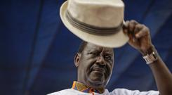 Raila Odinga greeting supporters