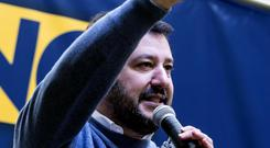Northern League party leader Matteo Salvini delivers a speech (AP)