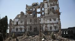 The Republican Palace that was damaged by Saudi-led airstrikes lies in ruins, in Sanaa, Yemen (AP)