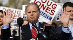 Doug Jones won election to the US Senate from Alabama, as voters in the deeply conservative and heavily Republican state deal a stark political blow to President Donald Trump and narrow the GOPs majority in the Senate to two. (AP Photo/John Bazemore)