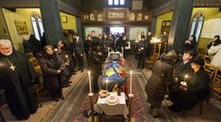 The coffin of former king of Romania Michael I in Switzerland before its journey home (AP)