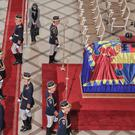 Honour guard next to the coffin of the late Romanian King Michael at the former royal palace, in Bucharest. (AP)