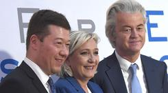 The president of the Czech Freedom and Direct Democracy party, Tomio Okamura, French National Front leader Marine Le Pen, and Dutch Party for Freedom head Geert Wilders (AP)