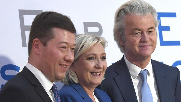 From left, president of Czech Freedom and Direct Democracy party Tomio Okamura, French politician and head of the National Front, Marine Le Pen, and Dutch politician and leader of the Party for Freedom Geert Wilders (AP)