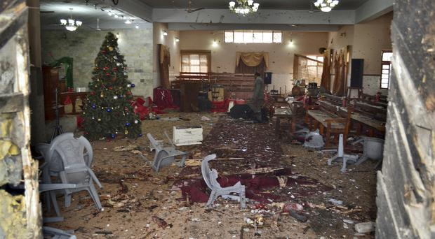 The main hall of a church following a suicide attack in Quetta, Pakistan (AP)