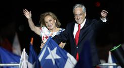 Chile's Sebastian Pinera celebrates his win in the presidential election run-off (AP)