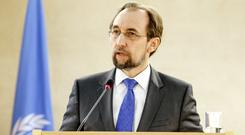 The UN High Commissioner for Human Rights, Jordan's Zeid Ra'ad al Hussein, delivers his statement at the Human Rights Council, in Geneva (AP)
