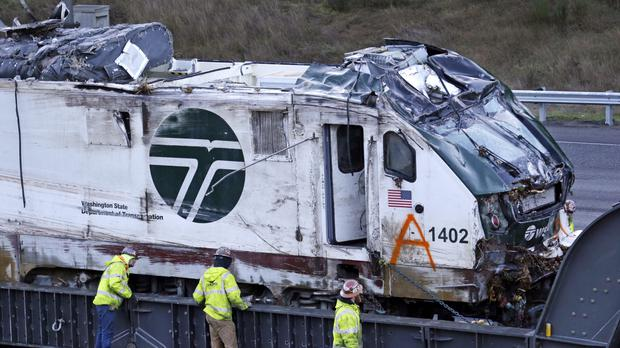 The engine from the Amtrak train crash (AP)