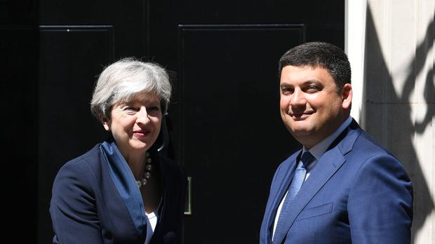 Theresa May with Ukraine's Prime Minister Volodymyr Groysman