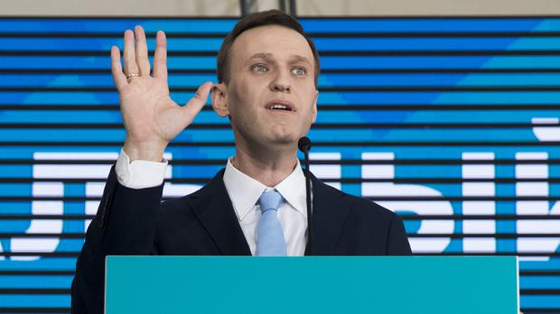 Russian opposition leader Alexei Navalny speaking during a rally for his supporters (AP Photo/Pavel Golovkin)