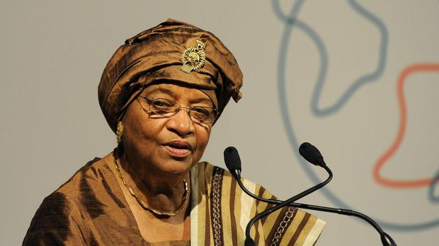 The outgoing president of Liberia Ellen Johnson-Sirleaf during a visit to London